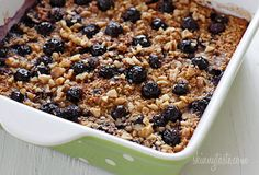 GLUTEN FREE **This is the BEST Baked Oatmeal recipe with Blueberries and Bananas. It's perfect to serve guests for brunch, or make it ahead for the week for easy meal prep, as leftovers taste just as good reheated. This can easily be made gluten-free. The Oatmeal, Baked Oatmeal Recipe With Blueberries, Baked Blueberry Oatmeal, Recipes With Blueberries, Best Oatmeal Recipe, Frozen Blueberries, Ww Recipes, Cooking Recipes, Skinnytaste Recipes