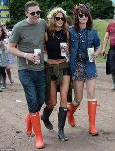 The Glastonbury brigade: Millie Mackintosh, Katherine Jenkins and Caroline Flack lead the celebrity festival glamour in their wellies Caroline Flack, Festival Looks, Festival Wear, Festival Outfits, Festival Style, Katherine Jenkins, Hunter Wellies, Hunter Boots, Millie Mackintosh
