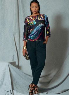 V1522 | Misses' Flounce-Sleeve Top and Drawstring Pants | Vogue Patterns Vogue Patterns, Pants Pattern, Top Pattern, Minimal Wardrobe, Dress Making Patterns, Pattern Making, Drawstring Pants, Fashion Sewing, Couture