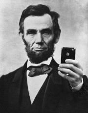 Honest Abe taking a new profile pic with his iPhone? ;) lol