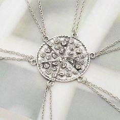 pizza friendship necklace set of 6