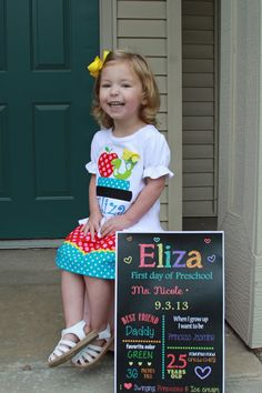 I will survive! First day of preschool custom sign custom outfit. My big girl!