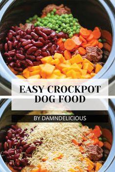 Easy Crockpot Dog Food Vegan Dog Food, Food Dog, Make Dog Food, Puppy Food, Home Cooked Dog Food, Dog Biscuit Recipes, Dog Treat Recipes, Dog Food Recipes, Homemade Dog Treats