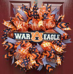 Auburn University - War Eagle- War Eagle Wreath - Auburn Tigers - Auburn Wreath - Auburn Deco Mesh Wreath - Auburn Ribbon by MsSassyCrafts on Etsy https://www.etsy.com/listing/240658021/auburn-university-war-eagle-war-eagle