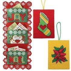Craftways Christmas Card Holder Plus 2 Ornaments Plastic Canvas Kit   Christmas Ball Ornaments