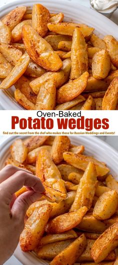 These Oven Baked Potato Wedges are perfectly seasoned and crisp with fluffy insides! Simply the way a side of potato wedges should be! Find out the secret to these banquet oven baked potato wedges and helpful tips! Best Potato Wedges, Seasoned Potato Wedges, Baked Potato Wedges Oven, Potato Wedges Recipe, Oven Baked, Side Recipes, Vegetable Recipes, Baby Food Recipes, Vegetarian Recipes
