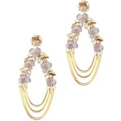 Deepa Gurnani Penelope Floral Chain Earrings (3.096.675 IDR) ❤ liked on Polyvore featuring jewelry, earrings, purple, floral jewelry, deepa gurnani earrings, deepa gurnani, floral jewellery and purple earrings