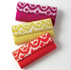 Ikat Clutches, major swoon. $40 each.
