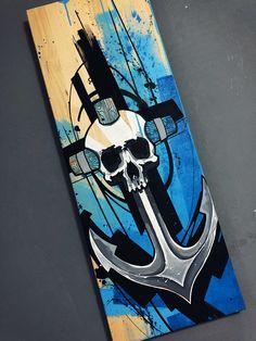 Skull Painting, Painting On Wood, Stencil Graffiti, Dope Art, Tattoo Art, Art Techniques, Pirates, Stencils, Street Art