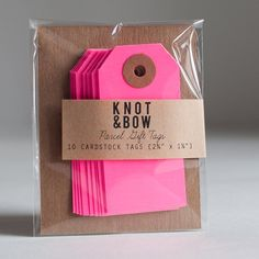 10 Neon Pink Parcel Gift Tags by knotandbow on Etsy, $3.00