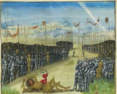 dwie armie piesze ustawione do walki - BOOK OF HOURS, use of Rome, in Latin and French