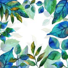 파랗다 푸르다 메마르지 않고 촉촉하다 싱그럽다 숲, Butterfly Watercolor, Watercolor Leaves, Watercolor Drawing, Watercolor Cards, Watercolor Paintings, Watercolors, Process Art, Illustrations, Leaf Art