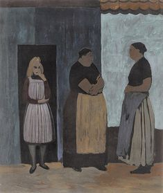 Léon Spilliaert (1881 - 1946) - Fisherwomen and a young girl (Femmes de pêcheus et jeune fille), 1926   Gouache and colour