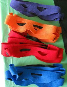 DIY Ninja Turtle Mask and Ninja turtle party ideas. The TMNT cupcakes are so cute.
