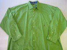Mens Shirt XXL Tommy Hilfiger Green LS Long Sleeve
