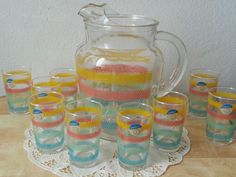 Vintage Libbey Pitcher & Glass Set For 11 NEW    w/ Stickers Retro  1960's