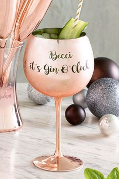 Buy Personalised Rose Gold Gin Glass from the Next UK online shop Personalised Gin, Gin Glasses, Gin Gifts, Uk Online, Wine Glass, Unique Gifts, Rose Gold, Tableware, Drinking