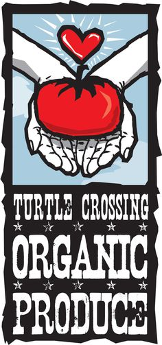 """Turtle Crossing Organic Produce"", original digital illustration, logo development and branding, commissioned for Mickey Sikes' organic farm. I built this so that it can be used on tshirts, business cards, you name it. I spent years in the print and silkscreen industry and know how to build these files so they can go direct to print with absolute top quality vector illustration.       I got the inspiration to do this from admiring her tomatoes she posted the other day."