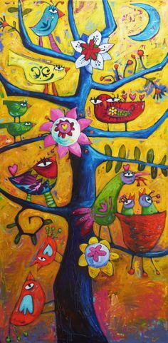 Tree Of Gratitude - Acrylic on High Quality Linen Canvas 60 x 120 cm (24x47 inches) -   © Copyright SARA CATENA 1990 - 2013 All Rights Reserved