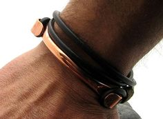 FREE SHIPPING Men's Bracelet. Men Leather Bracelet Brown Men leather bracelet with handmade copper clasp