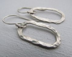 Artisan hand forged, hammered sterling silver hoops, metalwork dangle earrings,metalsmith jewelry