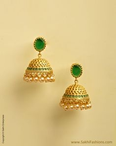 The Sakhi online collection features an enticing range of Womens earrings created using mix-metal and faux gemstones. We offers fancy,fashion , wedding and Pearl earrings at affordable price. Jhumka Designs, Gold Earrings Designs, Necklace Designs, India Jewelry, Temple Jewellery, Gold Jewelry, Pearl Jewelry, Gold Jhumka Earrings, Gold Ornaments