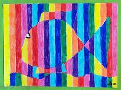Tekenen en zo: maart 2011 - could try using overlapped magazine strips to make Classroom Art Projects, Art Classroom, Summer Decoration, Fish Art, Art Club, Art Plastique, Teaching Art, Op Art, Art School