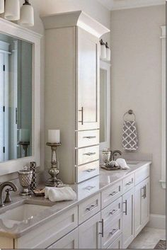 Beautiful master bathroom decor tips. Modern Farmhouse, Rustic Modern, Classic, light and airy master bathroom design ideas. Bathroom makeover a few ideas and master bathroom renovation some ideas. Bathroom Vanity Designs, Bathroom Storage, Bathroom Vanities, Bathroom Organization, Bathroom Cabinets, Bathroom Countertops, Bathroom Interior, Cabinet Storage, Dyi Bathroom