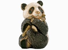 Panda Bear Ceramic Figurines Hand Carved Sculpture Derosa Gold Trim - Animals