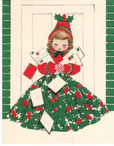Vintage Christmas Card Woman and Cards Holly Girl Norcross