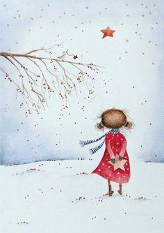 Καληνύχτα. Watercolor Christmas Cards, Christmas Drawing, Christmas Paintings, Watercolor Cards, Christmas Art, Watercolor Paintings, Christmas Pictures To Draw, Illustration Noel, Winter Illustration