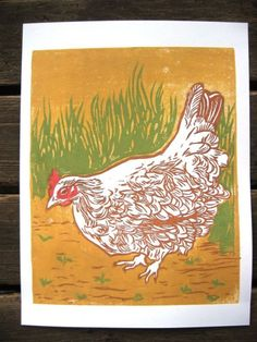 Lucy the Hen Original Block Print by drenculture on Etsy, $75.00