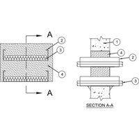 Şaft Duvarları, Betonarme Döşeme veya Beton Duvar Geçiş sisteminde yangın durdurucu köpük  - en fazla iki adet 610 mm x 150 mm ölçde çelik tava geçişi yapılabilir. Kablo tavaları arası meafe en az 50 mm olmalıdır. Boşluk alanı 0.34m² den fazla ve bir kenar ölçüsü 813 mm den fazla olmamalı, kablo alanı kablo tavası alanının %45 inden fazla olamaz. Kablo doluluk oranı en fazla %40 olmalı. 2 saat yangın dayanımlı, yangın durdurucu köpük (3M Fire Barrier Rated Foam) uygulama detayıdır.
