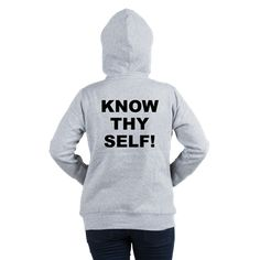 (BACK) Women's light color light steel grey hooded sweatshirt with Know Thy Self theme. The Know Thy Self phrase is a spiritual esoteric saying reminding the individual that inner truth and awareness is important to understanding our existence. Available in white, light steel grey, pale pink; medium, large, x-large, 2x-large size for only $43.99. Go to the link to purchase the product and to see other options – http://www.cafepress.com/stkts