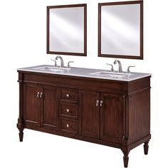 Lexington Single Bathroom Vanity Set in Walnut - Elegant Lighting Vanity Set, 60 Inch Vanity, Vanity Cabinet, Best Bathroom Vanities, Single Sink Bathroom Vanity, Single Vanities, Porcelain Sink, White Porcelain, Walnut Cabinets