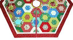 Ho Ho Ho Quilted Christmas Tree Skirt Hexagon Tree Skirt