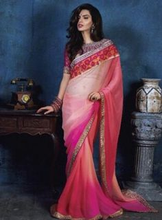 #Peach Spray Paint Embroidered #Saree Featuring chiiffon embroidered saree and viscose fabric sleeves blouse.