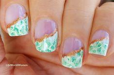 #Jade #gemstone inspired side #frenchmanicure French Manicure Nails, French Manicure Designs, Nail Designs, Easy Nail Art, Nail Tutorials, Gemstones, Jade, Diy, Beauty