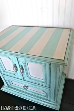 striped nightstand