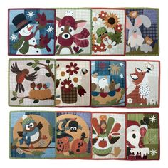 """It won't matter if you make these blocks in wool or cotton - they're sure to brighten your day! You'll receive 1 pattern each month for 12 months. Instructions are included for making each month to make a fun and easy 12"""" quilt for your LITTLE QUILTS collection. These are great for displaying on a 12"""" x 14"""" single scroll stand. You can also add the letter blocks to make a cute quilt for your wall, or dress it up and make it functional by making it into a full calendar. Simply ma..."""