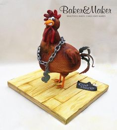 Gord-Hen Lifesize Rooster / Chicken Cake This was the first time I have ever tried my hand at a cake with internal structure. Gravity Defying Cake, Gravity Cake, Fancy Cakes, Cute Cakes, Baby Boy Christening Cake, Cake Structure, Chicken Cake, Farm Cake, Animal Cakes