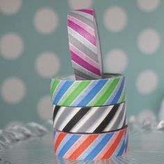 Big Striped Washi Tape in blue & green