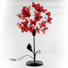 Black red lamp with butterflies, red butterflies gift for mom, Handmade Shade Butterfly Lamp Fairy Lamp Art Lamp Lighting shadow lamp Butterfly Table, Butterfly Decorations, Red Butterfly, Butterfly Room, My Funny Valentine, Mother Birthday Gifts, Mother Gifts, Red Table Lamp, Handmade Lamps