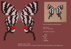 https://flic.kr/p/bEtyRr | beaded zebra swallowtail pattern (pendant/pin) by Angielina Grass, 2012:copyright: | brick stitch pattern; used size 11 seed beads.