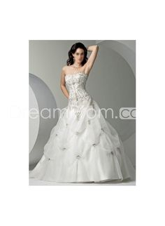 Organza Embroidery Pick-up Ball Gown Strapless Court Train Lace-up Wedding Gowns WM-0132