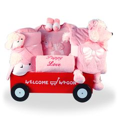 Little girls love puppies too and this unique baby gift welcomes her with a wagon full of poodle theme layette items she and her mommy and daddy are sure to love Baby Girl Gift Baskets, Baby Girl Gifts, Girls Best Friend, Best Friends, Welcome Wagon, Red Wagon, Unique Baby, Puppy Love, Teddy Bear