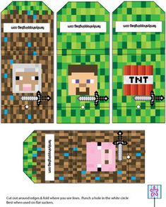 Suckers, Minecraft, Favor Box - Free Printable Ideas from Family Shoppingbag.com