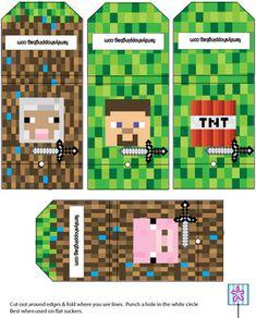 Suckers, Minecraft, Favor Box - Free Printable Ideas from Family Shoppingbag.com