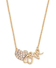 Swarovski® Crystal & Gold 'Love' Heart Pendant Necklace #zulily #zulilyfinds