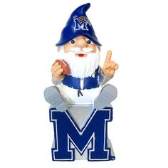 """This 11"""" statue has a gnome adorned in a Memphis Tigers hat with a football sitting on top of a Memphis 'M'. He would be a great addition to any mantle or garden. Or carry him along for your Tiger tailgating festivities!"""